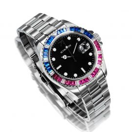 40mm Two Tone Iced Black Dial Watch in White Gold