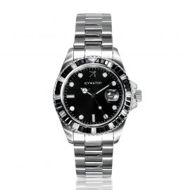 40mm Black Iced Black Luminous Dial Watch in White Gold