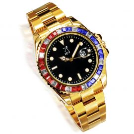 40mm Two Tone Iced Black Luminous Dial Watch In Gold