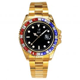 40mm Iced Black Luminous Dial Watch In Gold
