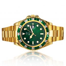 40mm Two Tone Iced Green Dial Watch in Gold