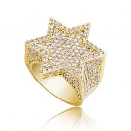 Iced Star of David Ring in Gold