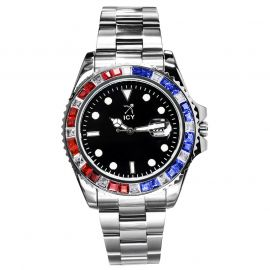40mm Two Tone Iced Black Luminous Dial Watch In White Gold