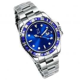40mm Iced Blue Luminous Dial Watch In White Gold