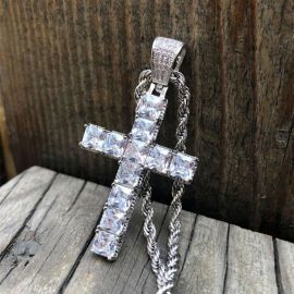 """Iced Princess Cut Cross Pendant with 24"""" Rope Chain in White Gold"""
