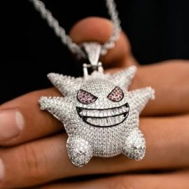 "Iced Gengar Pendant with 24"" Rope Chain in White Gold"