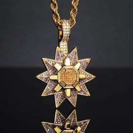 "Iced Rotating Starfish Pendant with 24"" Rope Chain in Gold"