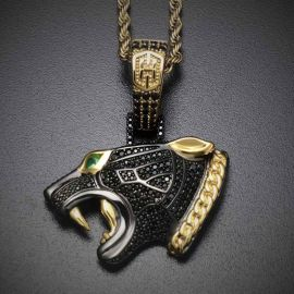 "Iced Black Panther Head Pendant with 24"" Rope Chain in Gold"