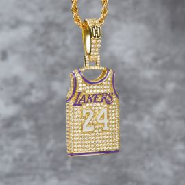 "Iced Lakers 24 Jersey Pendant with 24"" Rope Chain in Gold"