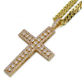 Diamond Cross Pendant in Gold with 5mm 24