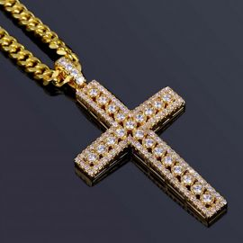 "Diamond Cross Pendant in Gold with 5mm 24"" Cuban Chain in Gold"