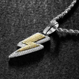 Iced Lightning Bolt Pendant with 24