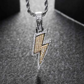 "Iced Lightning Bolt Pendant with 24"" Rope Chain In White Gold"