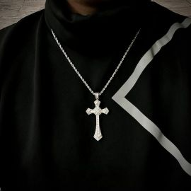 "Iced Baguette Diamond Cross Pendant with 24"" Rope Chain in White Gold"