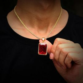 """Iced Cube Pendant with 24"""" Rope Chain in Glod"""