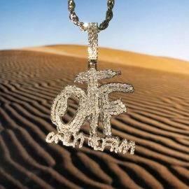 "Iced ONLY THE FAM Pendant with 24"" Rope Chain in White Gold"