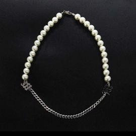 Half Pearl and Steel Cuban Chain Letters Necklace