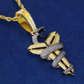 Iced Snake with Sheath Pendant in Gold with 24