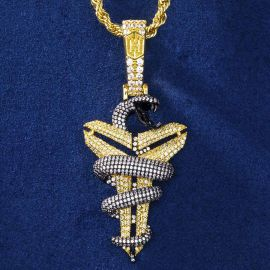"Iced Black Mamba Mentality Pendant with 24"" Rope Chain in Gold"