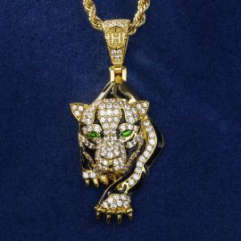 "The Walking Leopard Pendant with 24"" Rope Chain in Gold"