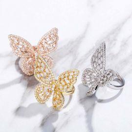 Women's Baguette Stone Butterfly Open Ring