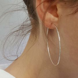 30mm-70mm Circle Hoop Earring in White Gold
