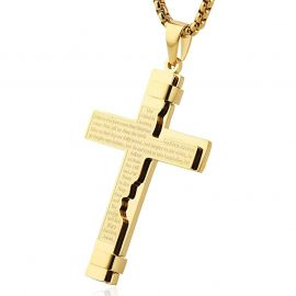 Lord's Prayer Stainless Steel Cross Pendant