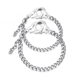 Handcuffs Couple Cuban Bracelet in Silver