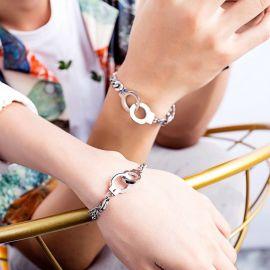 Handcuffs Couple Cuban Bracelet in Silver