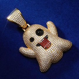 Gold Ghost Emoji Pendant