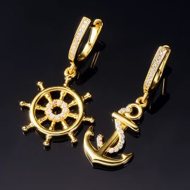 Anchor and Rudder Asymmetric Earrings
