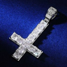 Upside Down Cross Pendant in White Gold
