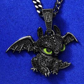 Iced Little Dragon Pendant in Black Gold