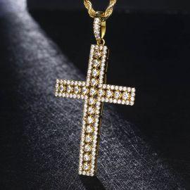 Diamond Cross Pendant in Gold