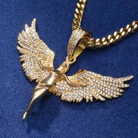 Iced Angel Pendant in Gold