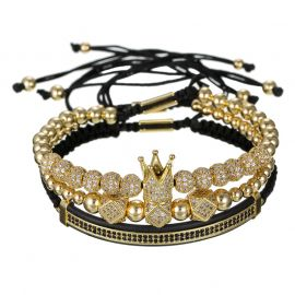 3Pcs Iced Crown Copper Beads Steel Bracelet Set in Gold