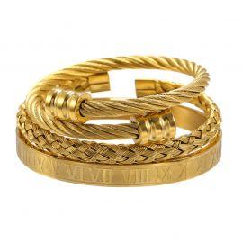 3Pcs Braid Steel Wire Open Bracelet with Roman Numbers Bracelet Set in Gold