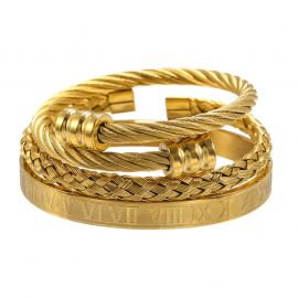 3Pcs Braid Steel Wire Open Bracelet with Roman Numbers Bracelet Set in Gold