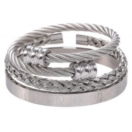 3Pcs Braid Steel Wire Open Bracelet with Roman Numbers Bracelet Set in White Gold