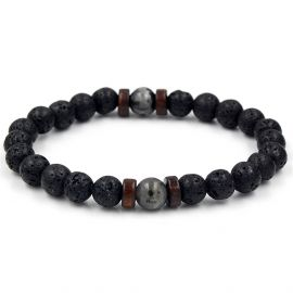 Natural Black Lava Stone with Herkimer Crystal Bracelet