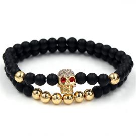 2Pcs Black Frosted & Gold Copper Beads Skull Bracelet