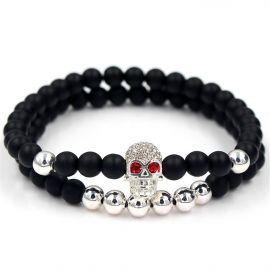 2Pcs Black Frosted & Silver Copper Beads Skull Bracelet