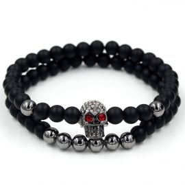 2Pcs Black Frosted & Black Gold Copper Beads Skull Bracelet