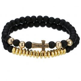 2Pcs Black Frosted & Gold Copper Beads Cross Bracelet