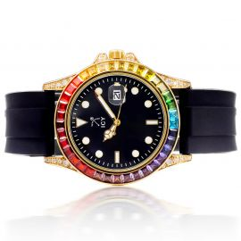 40mm Rainbow Stones and Black Dial Alloy Watch with Black Rubber Strap