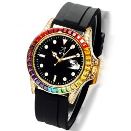 40mm Rainbow Stones and Black Luminous Dial Watch with Black Rubber Strap