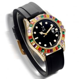 40mm Colorful Stones and Black Luminous Dial Watch with Black Rubber Strap