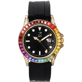 Rainbow Rose Gold Watch with Black Luminous Dial