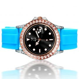 40mm Black Dial Rose Gold Alloy Watch with Blue Rubber Strap