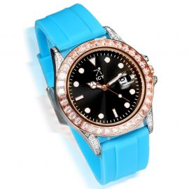 40mm Black Luminous Dial Rose Gold Alloy Watch with Blue Rubber Strap